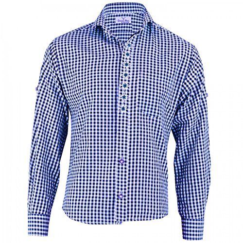 German Wear Trachtenhemd Karo mit Edelweiß-Stickerei aus Baumwolle, Größe:2XL, Farbe:Dunkelblau