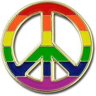 Peace Sign Gay Pride Rainbow LGBT Enamel Lapel Pin