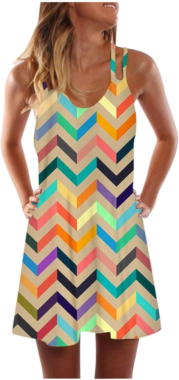 Oiumov Summer Dresses for Women,Womens Sleeveless Tie Dye A-line Sling Mini Dress Casual Beach Sundress Loose Boho Dress