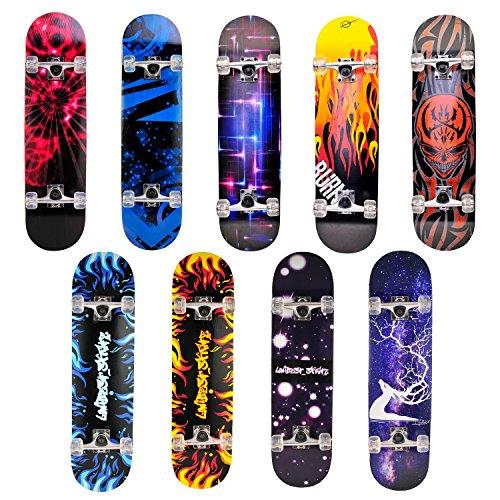 Unibest Skateboard Deck Funboard Holzboard komplett 80x20cm Ahornholz - pink Starlight