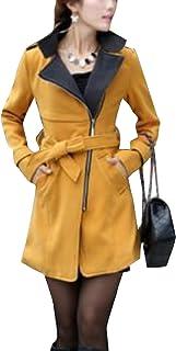 جاكيت معطف نسائي من Fiere مناسب لشكل الجسم مزود بسحاب وياقة واقفة وجيوب كبيرة