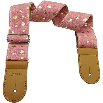 Xinlinke Girls Guitar Strap Pink Cotton Heart Pattern Electric Acoustic Guitar Bass Music Accessories