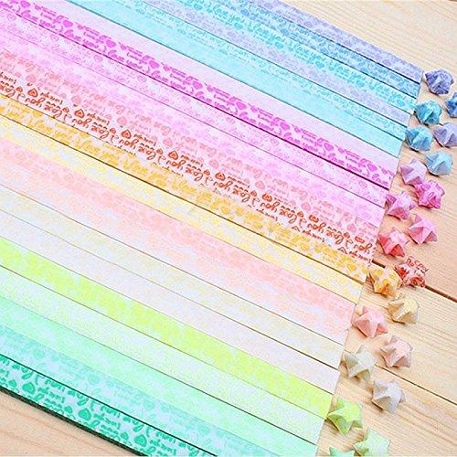 210 piezas de papel luminoso estrella de la suerte doblado papel de Origami haciendo estrellas de los deseos regalo de cumpleaños DIY te amo papel de decoración de quilling