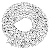 Master Of Bling 1 Row Solitaire Tennis Necklace 24' Chain Sterling 925 Silver 3mm Lab Diamonds New