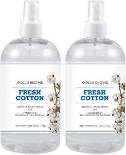 SMELLS BEGONE Air Freshener Home and Linen Spray - Odor Eliminator Concentrated Deodorizer - Neutralizes Odors at The Source -Made with Natural Essential Oils - 16 Ounces (2 Pack, Fresh Cotton)