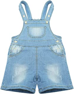 BUYIIT Baby/&Little Boys//Girls Overall Washed Premium Soft Denim Dungarees Jean Jumpsuits