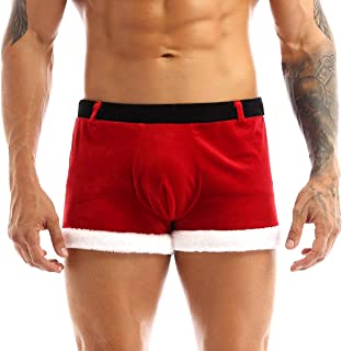 CHICTRY Men's Flannel Red Santa Claus Costume Christmas Trunks Boxer Briefs