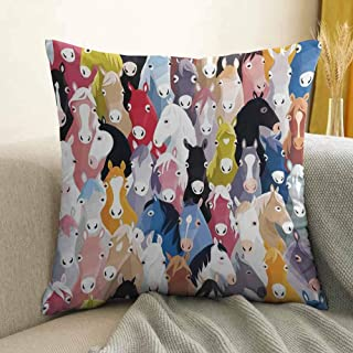 Antony Petty Abstract Home Decor Bedding Soft Pillowcase Pattern with Colourful Cartoon Horses Pony Childhood Childish Artwork Hypoallergenic Pillowcase W16 x L24 Inch