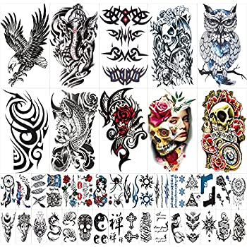 42 Sheets Temporary Tattoos Stickers  Include 10 Sheets Large Stickers  Fake Body Arm Chest Shoulder Tattoos for Men and Women