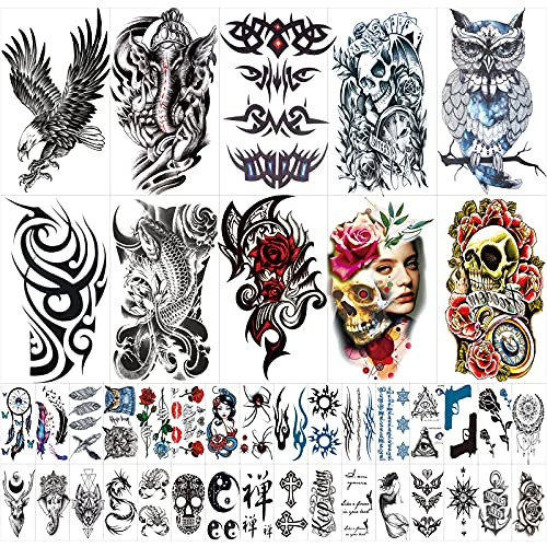 42 Sheets Temporary Tattoos Stickers (Include 10...