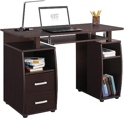 COMIFORT Bureau pour Jeunes - Bureau d'ordinateur avec 2 tiroirs, 5 étagères et Un Plateau pour Clavier Amovible, conçu en Espagne, fabriqué en Bois, Mesure 115x55x76cm - MONTGO wenge