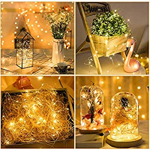 yoeen 20 pack fairy lights battery operated 33ft 20 led mini string lights waterproof flexible copper wire firefly starry lights for mason jars wedding centerpieces party christmas decor warm white