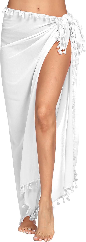 Ekouaer Women Sarong Chiffon Beach Wraps Sheer Swimsuit Cover Ups Sexy Bikini Long Skirts with Tassels