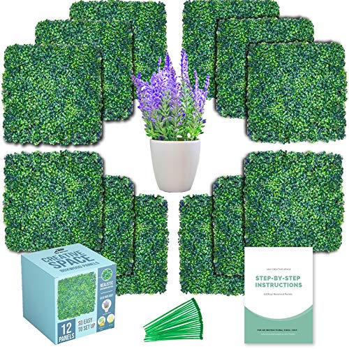 """Grass Wall, Artificial Boxwood Panels – 12 Pcs 20""""x20"""" Screen – Backyard Decorations for Party, Greenery Backdrop, Outdoor Balcony Privacy Fence – Green Hedge Set, Protective Screen"""
