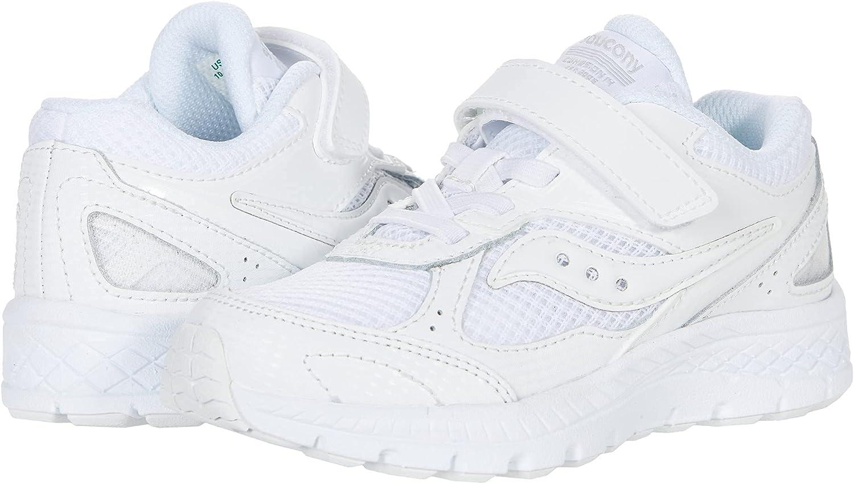 Saucony Cohesion 14 Alternative Closure Running Shoe, White, 2 Wide US Unisex Big_Kid