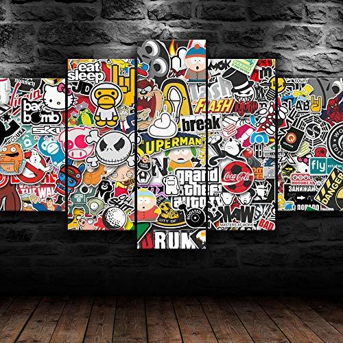 yuanjun 5 Juegos De Pinturas Impresión HD Pintura De Arte De Pared Pintura Moderna Pintura De Decoración del Hogarimpresión De Lienzo XXL Sticket Designs Arte Abstracción