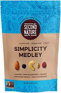 Second Nature Simplicity Medley Trail Mix - Healthy Nuts Snack Blend, Gluten Free - 26 oz Resealable Pouch (Pack of 6)