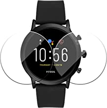 POPIO Edge To Edge Full Screen Coverage Tempered Glass Screen Protector for Fossil Carlyle/Julianna GEN 5 Digital Smartwatch with Installation Kit (Transparent) - Pack of 2