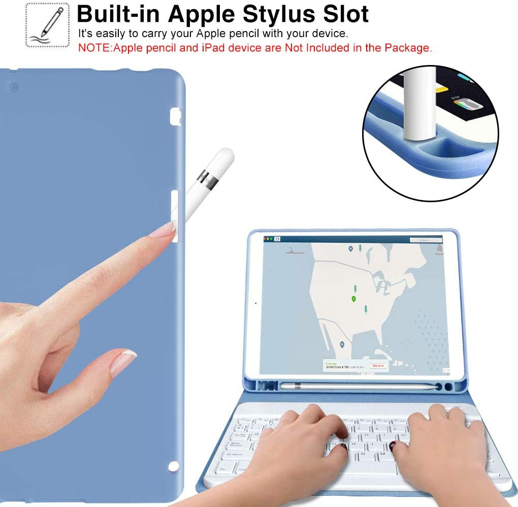 2020 iPad Keyboard Case 10.2-inch for New iPad 8th Generation ,iPad 7th Generation 2019,10 Color Backlit 360 Rotatable Wireless Detachable Bluetooth 5.0-Auto Sleep//Wake for iPad Keyboard Case.