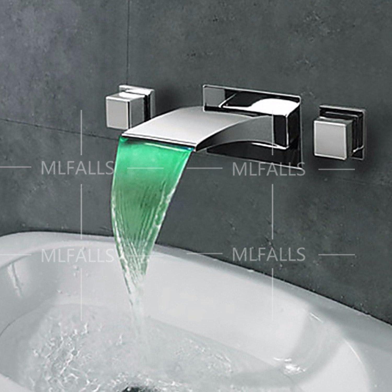 Bijjaladeva Wasserhahn Bad Wasserfall Mischbatterie WaschbeckenLED mit Licht in die Wand Wasserfall Wasser Kalt Wasser Keramik Ventil Einloch Single Bad Waschtisch Armatur mit GRI