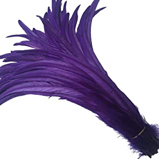 Shekyeon 12-14inch Purple Rooster Tail Feather Use for Hats Costume Decoration Pack of 50