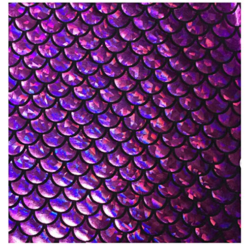 "Mermaid Hologram Fish Scale Stretch Spandex Fabric 58""/60"" Wide (Purple Scale, 1 Yard)"