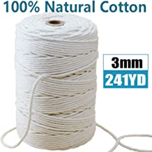 Mygogo Macrame Cord 3mm x 241Yards (About 220m,722feet) Natural Cotton Macrame Rope 4 Strand Twisted Soft Cotton Cord for Handmade Wall Hanging Plant Hanger Craft Making DIY Decoration Natural Color