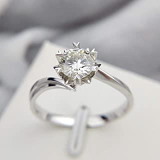 LuckyOne - Anello classico in argento Sterling 925 da 1 ct 2 ct a taglio brillante in moissanite con diamanti