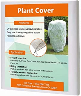"""Agfabric Warm Worth Frost Blanket - 0.95 oz 108""""x 84"""" Shrub Jacket, Rectangle White Plant Cover for Season Extension & Frost Protection"""