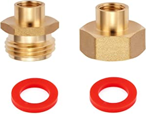 Litorange 2 PCS Lead-Free Brass Reducing Hex Adapter Garden Hose Thread 3/4