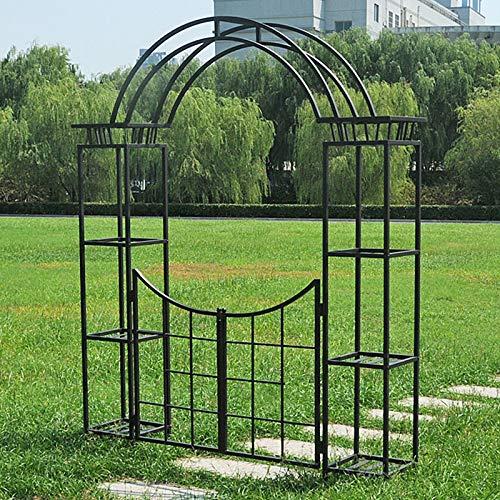 YICOL Iron Garden Arch,Heavy-Duty Climbing Plants Support,4 Tier Flower Stand,Wrought Iron,Black/Beige