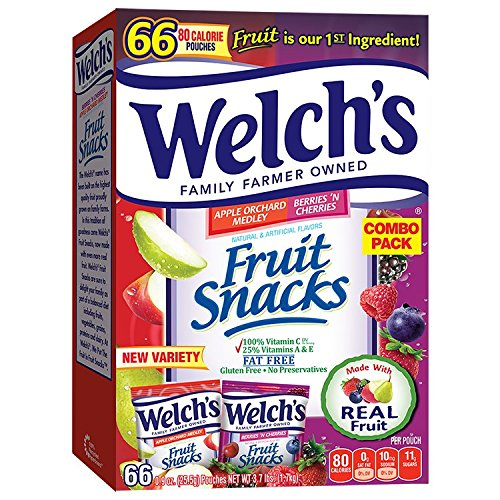 Welch's Apple Orchard Medley and Berries 'n Cherries Fruit Snacks, 66 Count (Pack of 1)