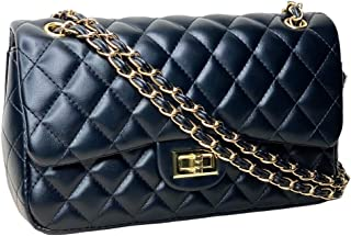 Cross body Designer Inspired Convertible Quilted Shoulder Handbag - with Chain Leather Strap for Women