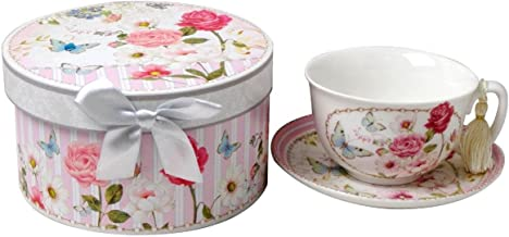 Lightahead Bone China Cappuccino Coffee Tea Cup and Saucer Set in attractive gift box in pretty pink Floral design 10 oz