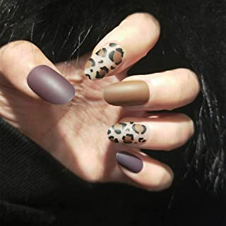 Fdesigner Leopard Matte False Nails Decoration Long Oval Fake Nails Nude Full Cover Clip on Nail Acrylic Artificial Nails for Party Club Date