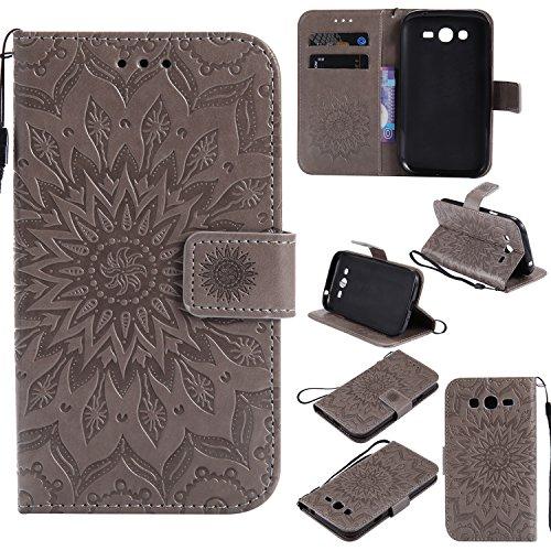 YYhin Cáscara Case para Funda Samsung Galaxy Grand Neo i9060/Grand Duos i9082, Cartera extraíble de Piel magnética Desmontable con Monedero, Funda de sujeción para.(Gris)
