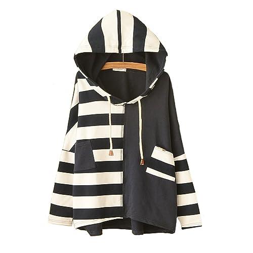 8ede79950a8 JUNG KOOK Womens SEN Female Cute Japanese Style Loose Long Sleeve Striped  Hooded Sweater