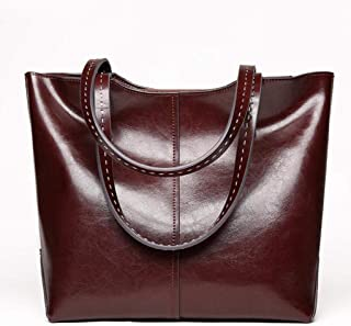 Fine Bag/Spring and Summer Genuine Leather Women Top Handle Satchel Handbag Tote Shoulder Bag Purse Bag Crossbody Bag Designer (Color : Red-Brown, Size : OneSize)