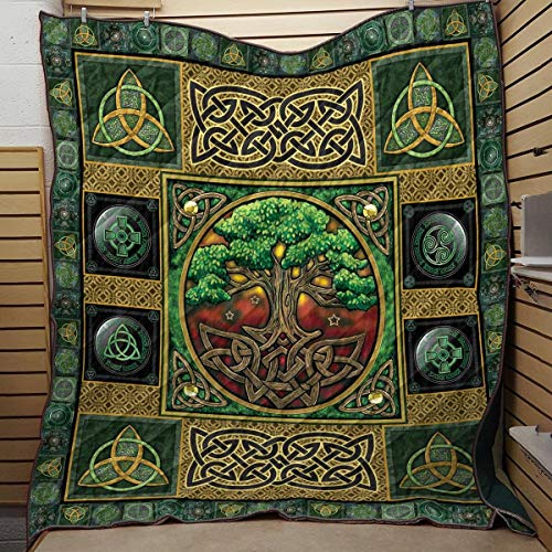 Celtic Tree Art Quilt, Tree of Life Quilt All-Season Warm Quilt King Queen Twin Throw Size - Best Decorative Gifts for Mom Dad Daughter Son