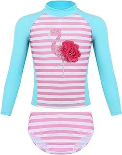 Freebily Infant Baby Girls Long Sleeve Floral Printed Ruffled Back Rash Guard UPF 50 Swimwear Swimsuit Bathing Suit