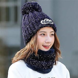 HVTKL Sombrero babero de dos piezas de invierno para mujer ciclismo a prueba de viento cálido