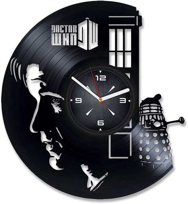 Doctor Who Vinyl Record Wall Clock. Decor for Bedroom, Living Room, Kids Room. Gift for Boys or Girls. Christmas, Birthday, Holiday, Housewarming Present.