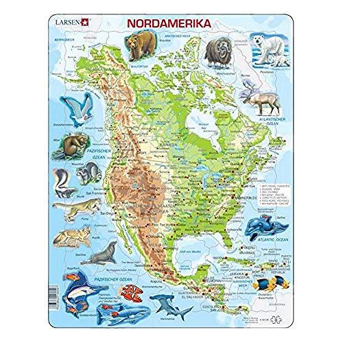 FPRW® A32 Nordamerika-physische Karte mit Tierpuzzle
