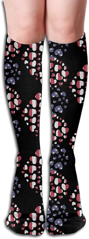 American Flag In Heart Socks Athletic Women Ranking TOP6 for Import Men R