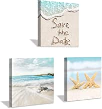Hardy Gallery Canvas Beach Starfish Wall Art: Modern Seaside Painting Seascape Picture Giclee Print on Canvas for Living Room (12'' x 12'' x 3 Panels)