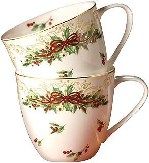 Hankook Chinaware Fine Bone China Mug Cups 2p, Christmas Edition, Set of 2, for Coffee, Tea and Milk