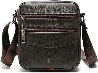 OURBAG Herren Kleine Rindsleder Schultertasche Umhängetasche Handtasche Messenger Bag mit Reißverschluss Kaffee-1