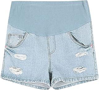 dfcd7883804c8 MTRNTY Women's Maternity Casual Elastic Waist Denim Shorts Blue Summer Jeans