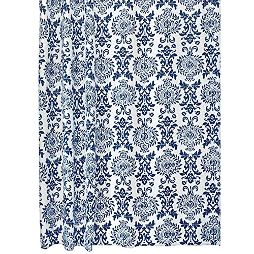 Navy Damask Shower Curtain