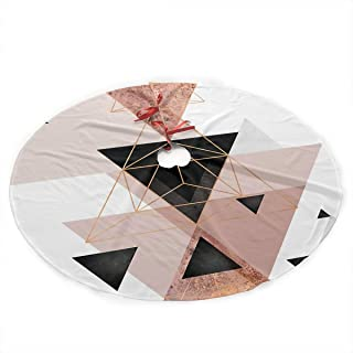 SDSQ HOME Geometric Triangles in Blush and Rose Gold Traditional Christmas Tree Skirt 35.5 Inch - Holiday Party Decoration